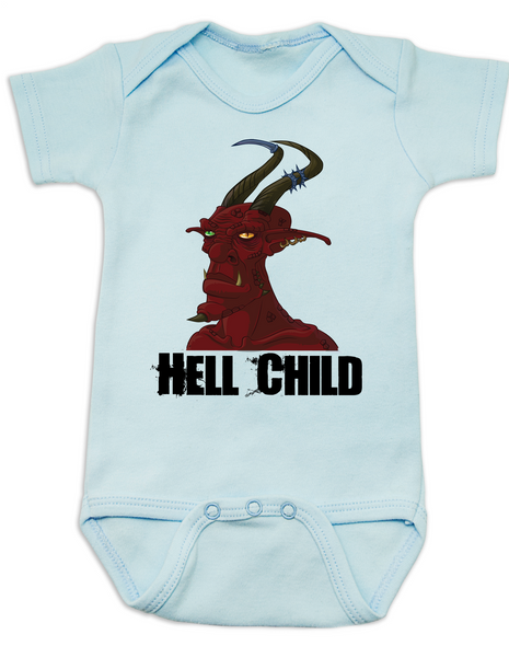 Hell Child Baby Bodysuit, Wild Child, crazy baby, Little Rebel, demon spawn, devil baby, blue