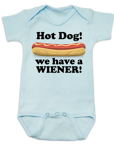 Hot Dog baby Bodysuit, we have a wiener, punniest baby award, funny hot dog onsie, blue