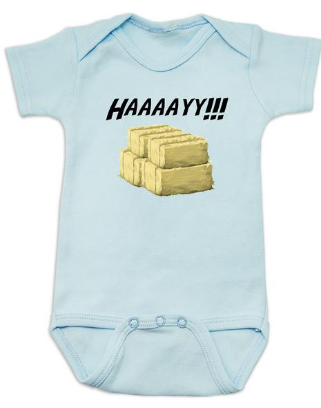 Haaaay! Baby Bodysuit, Hey Y'all, what does a gay cow say, farm humor, haaay y'all, blue