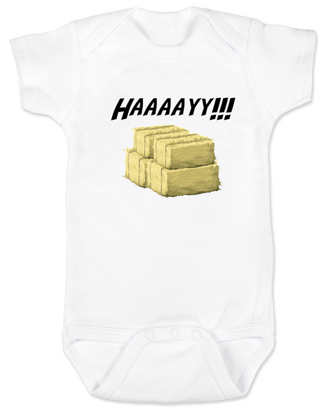 Haaaay! Baby Bodysuit, Hey Y'all, what does a gay cow say, farm humor, haaay y'all