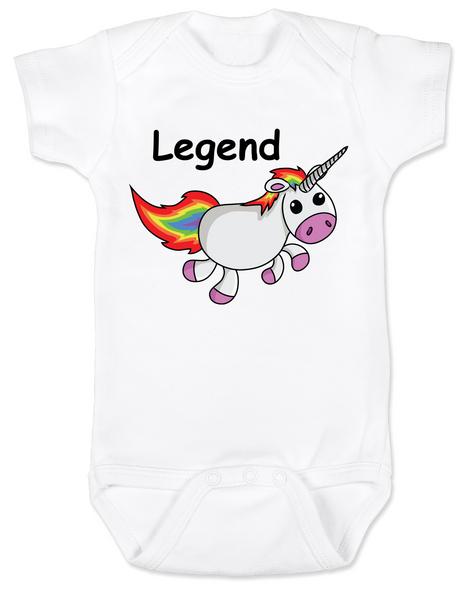 Unicorn Legend Baby Bodysuit, rainbow unicorn onsie