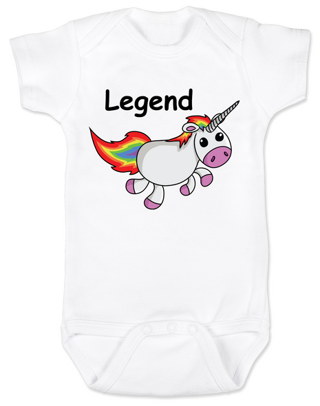 Unicorn Legend Baby Bodysuit, rainbow unicorn onsie