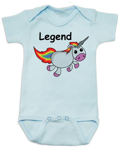 Unicorn Legend Baby Bodysuit, rainbow unicorn onsie, blue