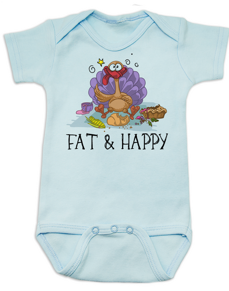 Fat and Happy Baby Bodysuit, Thanksgiving onsie, funny turkey, Fat & Happy, blue