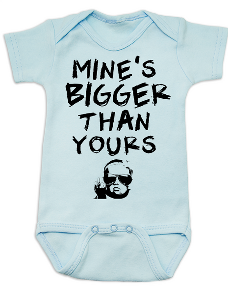 Mine's bigger than yours baby Bodysuit, vulgar baby onsie, mines bigger, blue