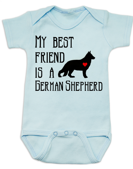 My Best Friend is a German Shepherd Baby Bodysuit, Shepherd Puppy Love Onsie, Babies Best Friend, Fur Babies best friend, Love my doggy, personalized dog lover Bodysuit, unique baby shower gift, personalized baby birthday gift, cute I love my dog baby clothes, badass dog Bodysuit, Rescue dog, blue