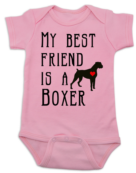 My Best Friend is a Boxer Baby Bodysuit, Boxer Puppy Love Onsie, Babies Best Friend, Fur Babies best friend, Love my doggy, personalized dog lover Bodysuit, unique baby shower gift, personalized baby birthday gift, cute I love my dog baby clothes, badass dog Bodysuit, Rescue dog, pink