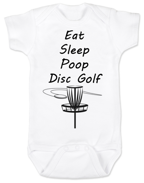 Eat Sleep Poop Disc Golf Baby Bodysuit, Future Disc Golfer, Disc golf onsie, personalized sports baby clothes, white