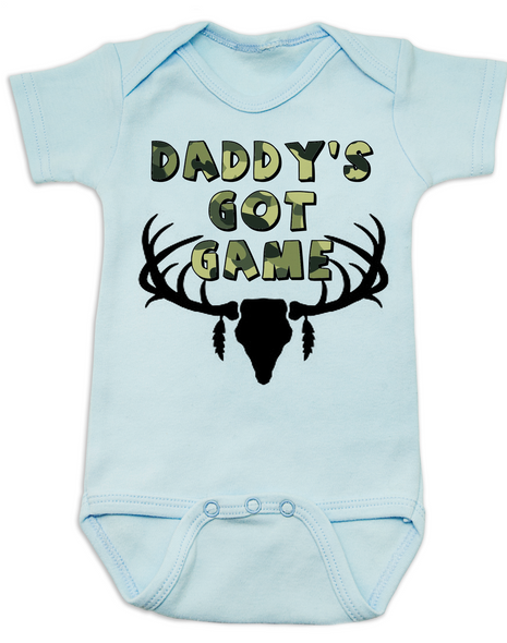 Daddy's Got Game baby Bodysuit, Future hunting buddy, Little hunter, dad loves to hunt, deer hunting, big buck, deer antlers, camo baby, hunting with dad baby onsie, blue