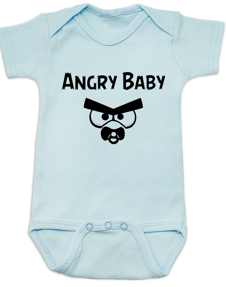 Angry Birds baby Bodysuit, angry baby onsie, funny video game baby clothes, blue