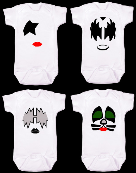 KISS band baby Bodysuit, Gene Simmons Bodysuit, Paul Stanley Bodysuit, Peter cris Bodysuit, ace frehley Bodysuit