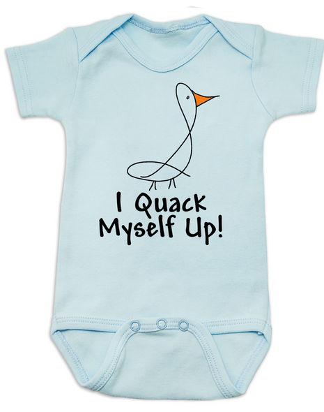I quack myself up baby Bodysuit, funny ducky baby onsie, I crack myself up, cute and funny baby gift, blue