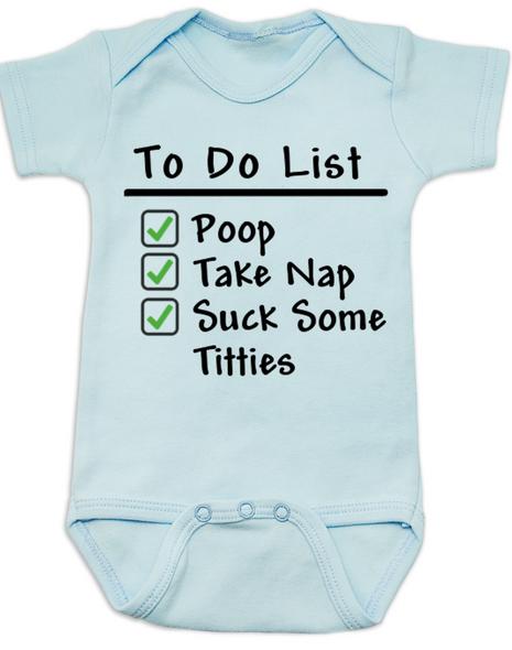 To Do List baby Bodysuit, funny breast feeding baby onsie, blue