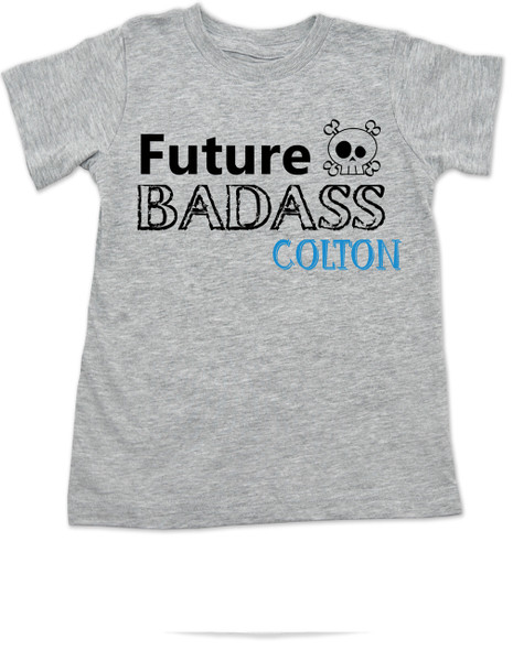 Future Badass toddler shirt, skull toddler t-shirt, badass little boy, badass little girl, custom shirt for cool kids, personalized with custom name, Future Badass Boy, grey