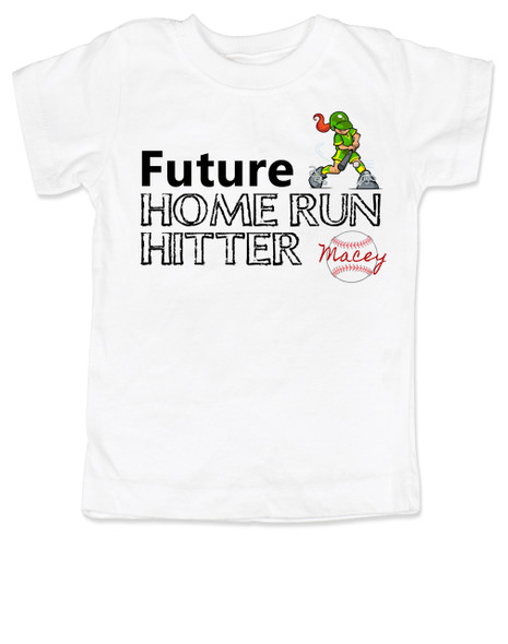 Future Home Run Hitter toddler shirt, Future Baseball Player, Play Ball, Girl Softball player,  Sports toddler t-shirt, personalized with custom name, white