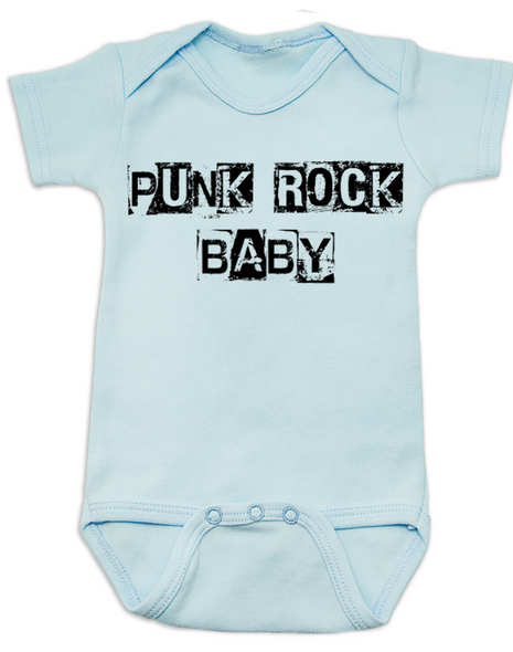 Punk Rock Baby Bodysuit, hardcore baby, rock and roll, punk baby onsie, blue