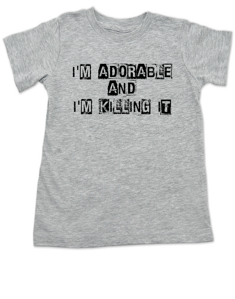 Adorable and Killing it toddler shirt, punk toddler t-shirt, punk rock kid clothes, I'm adorable, I'm killin it, cute and cool kid tee, grey