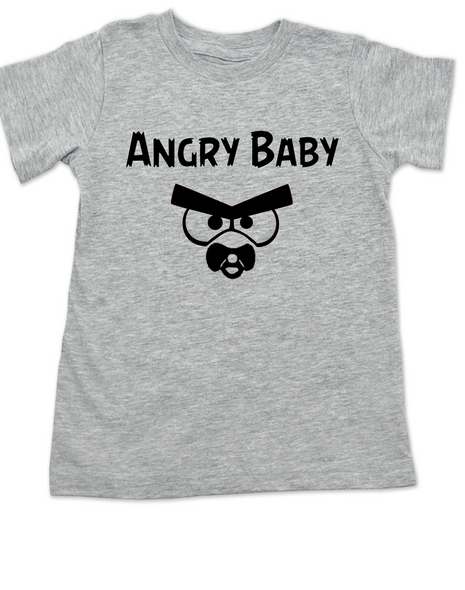 Angry Birds toddler shirt, angry toddler t-shirt, funny video game kid clothes, angry baby, grey
