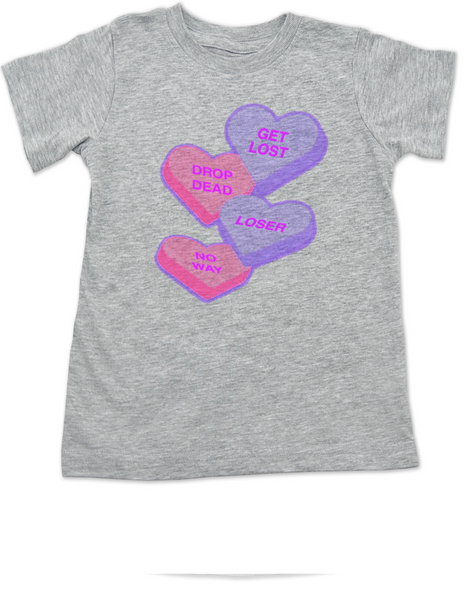 Funny Candy Heart toddler shirt, Valentines Day kid tee, Valentine's Day hearts, kid valentine kid t shirt, Offensive candy heart toddler t-shirt, grey