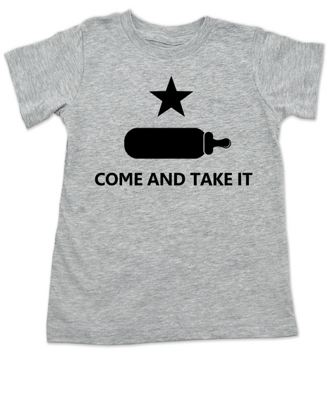 Come and take it toddler shirt, kid Texas Proud, Southern State Pride toddler shirt, Funny Texas toddler t-shirt, redneck kid, born in the south, gun rights, second amendment, Texas revolution, battle of Gonzales, right to bear arms toddler shirt, grey