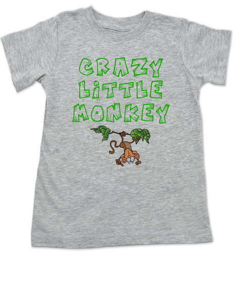 Crazy Little Monkey toddler shirt, Silly monkey, crazy toddler, wild child, crazy kid shirt, grey