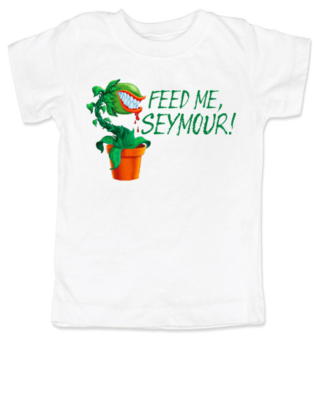Feed Me Seymour toddler shirt, Little Shop of Horrors, Funny movie toddler shirt, classic movie kid t shirt, Audrey plant, Venus fly trap, rick moranis, hangry kid, hungry toddler t-shirt, white