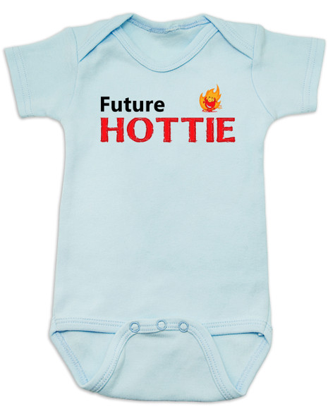 Future Hottie Baby Bodysuit, Little Cutie, Future Stud, Future Supermodel, Very Attractive baby onsie, blue