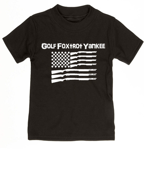 Golf Foxtrot Yankee, Military toddler shirt, Go Fuck Yourself, American Flag toddler t-shirt, black