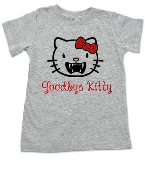 Goodbye Kitty toddler shirt, Hello Kitty Vampire toddler t-shirt, Goodbye Kitty kid tee, Cute Halloween toddler shirt, grey
