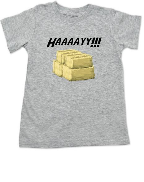 Haaaay! toddler shirt, Hey Y'all, what does a gay cow say, farm humor, haaay y'all, grey