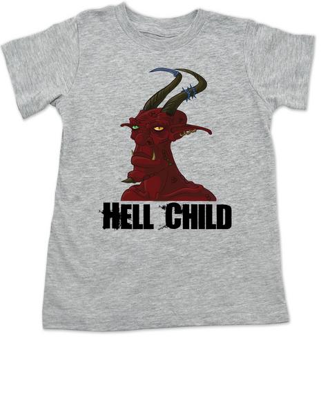 Hell Child toddler shirt, Wild Child, crazy kid, Little Rebel, demon spawn, devil kid, grey