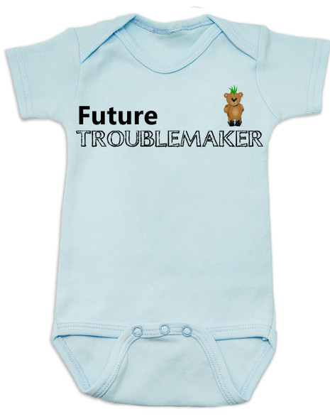 Future Troublemaker Baby Bodysuit, Personalized funny baby onsie, Strong Willed Child, Trouble Maker, blue