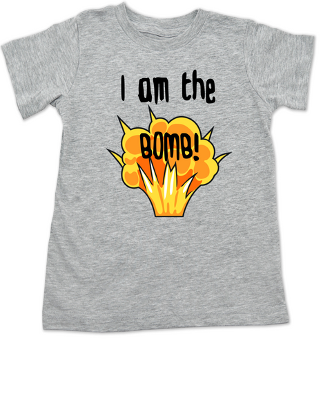 I am the bomb toddler shirt, I'm the bomb toddler t-shirt, Bomb ass kid, grey