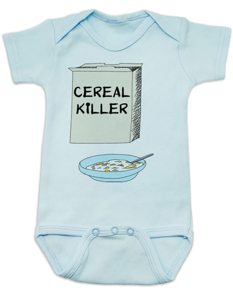 Cereal Killer baby Bodysuit, horror movie baby onsie, bowl of cereal, Cereal Killer, Punny baby, blue