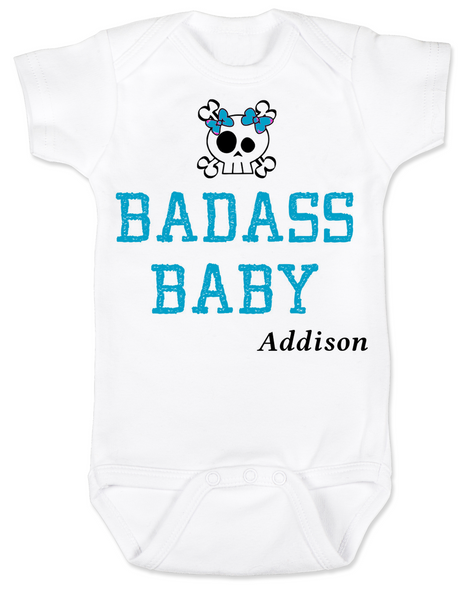 Badass Baby Bodysuit, Personalized badass baby girl onsie, customized cool kid baby shower gift, punk rock baby bodysuit with with Skull and crossbones, custom name