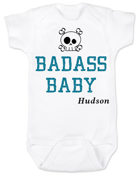 Badass Baby Bodysuit, Personalized badass baby boy onsie, customized cool kid baby shower gift, punk rock baby bodysuit with with Skull and crossbones, custom name