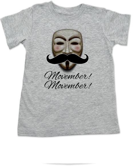Movember toddler shirt, Guy Fawkes mask, V for Vendetta toddler t-shirt, No Shave November, grey