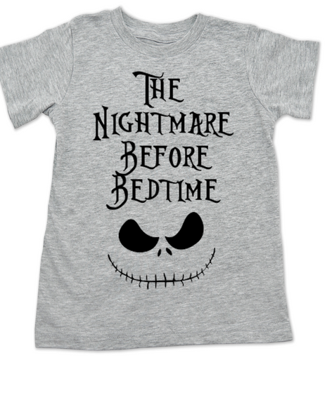 Nightmare before bedtime toddler shirt, nightmare before christmas, jack the pumpkin king, grey