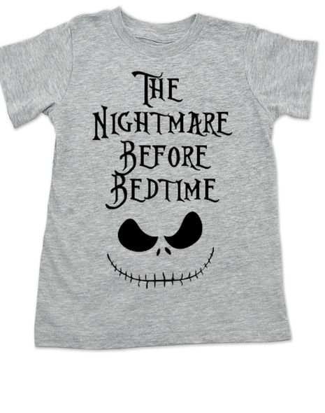 Nightmare before bedtime toddler shirt, nightmare before christmas, jack the pumpkin king, grey