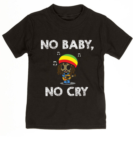 Bob Marley toddler shirt, No baby No Cry, Reggae Music kid t shirt, Rock n Roll kid clothes, Jamaican kid Lullaby, No woman no cry toddler shirt, Reggae toddler t-shirt black