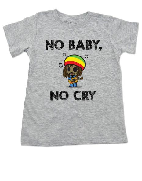 Bob Marley toddler shirt, No baby No Cry, Reggae Music kid t shirt, Rock n Roll kid clothes, Jamaican kid Lullaby, No woman no cry toddler shirt, Reggae toddler t-shirt grey