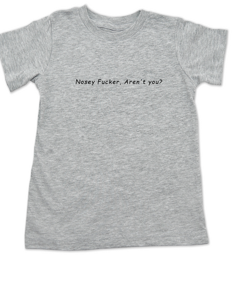 Nosey Fucker toddler shirt, Don't touch the kid, back up toddler shirt, funny personal space shirt, rude toddler t-shirt, funny offensive kid t shirt, Nosey Fucker aren't you?, grey