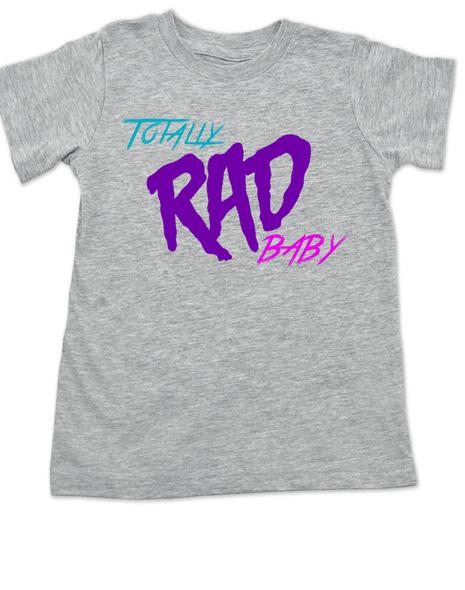Totally RAD toddler shirt, 80's toddler shirt, cool retro kid shirt, totally rad kid t-shirt, grey
