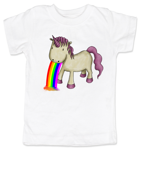 Unicorn Rainbow Vomit toddler shirt, funny unicorn toddler shirt, badass unicorn kid t-shirt, badass little girl shirt, rainbow vomit kid shirt, white