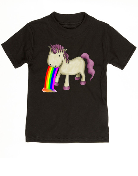 Unicorn Rainbow Vomit toddler shirt, funny unicorn toddler shirt, badass unicorn kid t-shirt, badass little girl shirt, rainbow vomit kid shirt, black