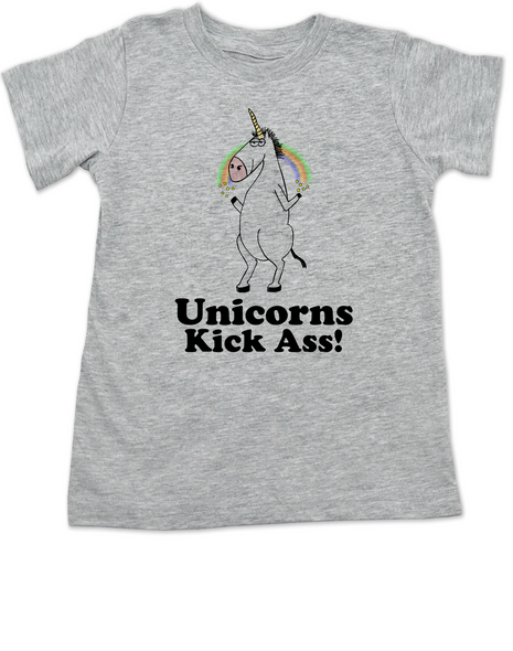 Unicorns Kick Ass toddler shirt, funny unicorn toddler shirt, badass unicorn kid t-shirt, badass little girl shirt, grey