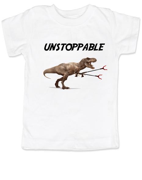 Unstoppable T-Rex dinosaur toddler shirt, T-Rex with grabbers, unstoppable trex, funny dinosaur toddler shirt, unstoppable dinosaur, trex toddler shirt, white