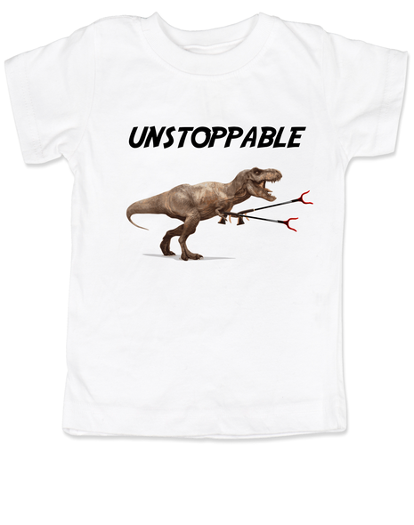 Unstoppable T-Rex dinosaur toddler shirt, T-Rex with grabbers, unstoppable trex, funny dinosaur toddler shirt, unstoppable dinosaur, trex toddler shirt, white