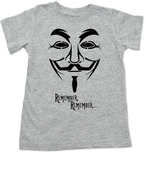 V for Vendetta movie toddler shirt, V Remembers, Remember Remember, 5th of November, grey