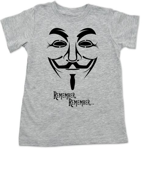 V for Vendetta movie toddler shirt, V Remembers, Remember Remember, 5th of November, grey